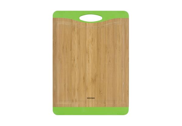 Разделочная доска из бамбука Nadoba Krasava, 35 ? 25 см . 722111722111Не скользит по столешнице. Натуральный бамбук, противоскользящие резиновые вставки. Прорезиненная ручка. Гарантия 3 года..
