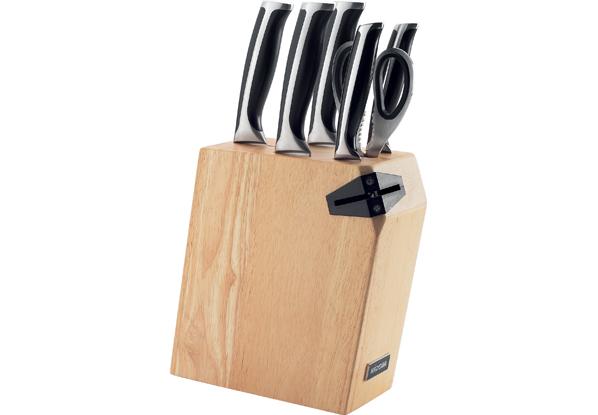 Набор из 5 кухонных ножей Nadoba Ursa с ножницами и блоком с ножеточкой нож сантоку  nadoba ursa  17 5 см