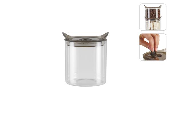 Ёмкость для хранения Nadoba Otina, 0.9 л . 741212741212Специальные бортики у крышки для хранения емкостей друг на друге. Абсолютно герметичная крышка с запирающим клапаном.Прозрачное боросиликатное стекло. Гарантия 5 лет.