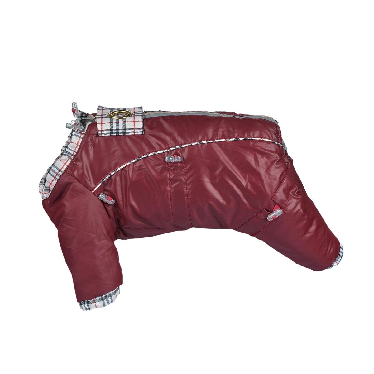 Комбинезон для собак Dogmoda Doggs, для девочки, цвет: бордовый. Размер XXXLDM-140555Комбинезон для собак Dogmoda Doggs отлично подойдет для прогулок в прохладную погоду. Комбинезон изготовлен из полиэстера, защищающего от ветра и осадков, а на подкладке используется вискоза, которая обеспечивает отличный воздухообмен. Комбинезон застегивается на молнию и липучку, благодаря чему его легко надевать и снимать. Молния снабжена светоотражающими элементами. Низ рукавов и брючин оснащен внутренними резинками, которые мягко обхватывают лапки, не позволяя просачиваться холодному воздуху. На вороте, пояснице и лапках комбинезон затягивается на шнурок-кулиску с затяжкой. Модель снабжена непромокаемым карманом для размещения записки с информацией о вашем питомце, на случай если он потеряется. Благодаря такому комбинезону простуда не грозит вашему питомцу.