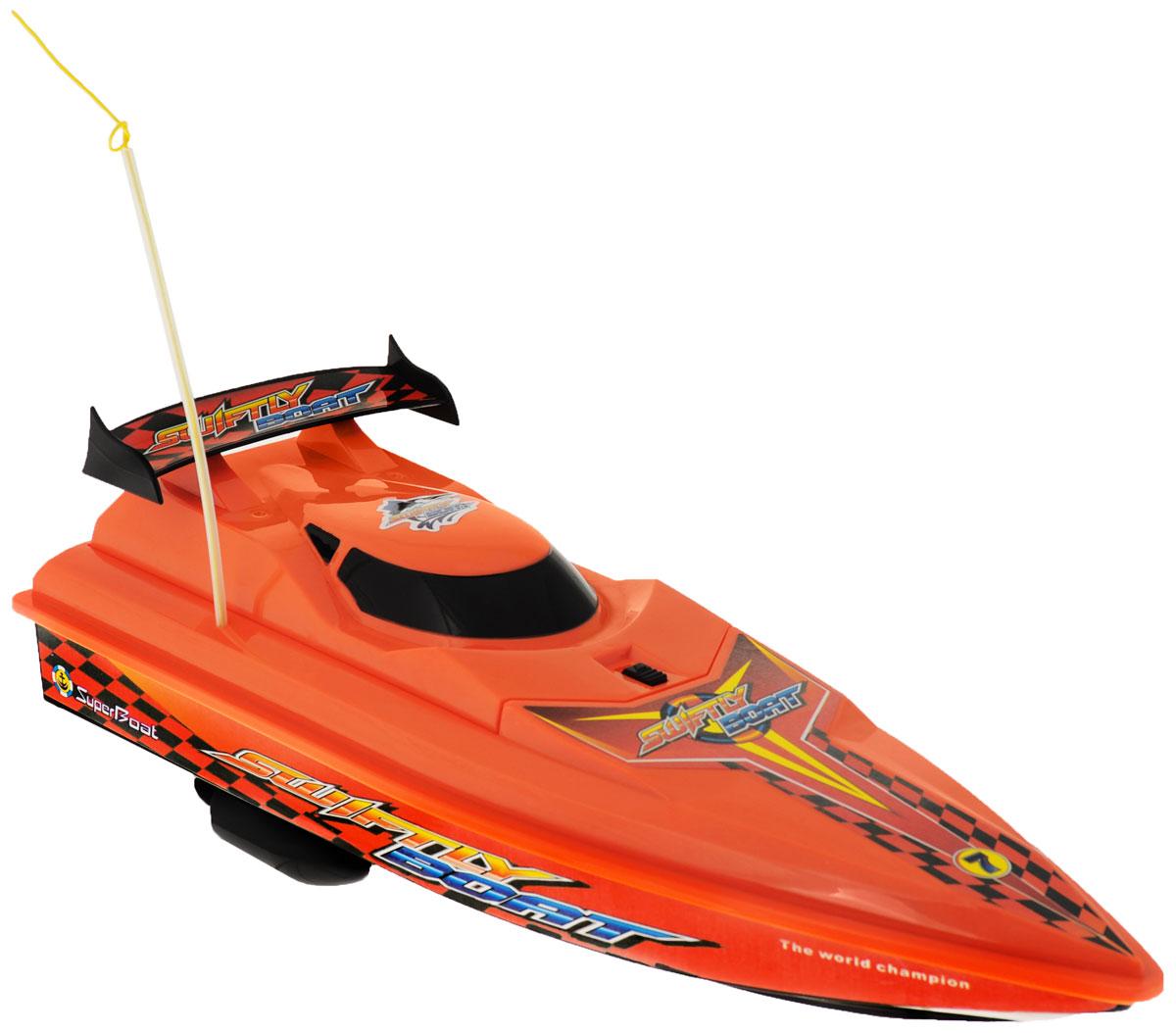 LK-Toys Катер на радиоуправлении Чемпионат Swiftly BoatBM 5005Радиоуправляемый гоночный катер LK-Toys Чемпионат: Swiftly Boat - необычная водная игрушка, которая понравится и детям, и взрослым. Игрушечный спортивный катер изготовлен из прочного и качественного пластика, что успешно позволяет сделать конструкцию корпуса максимально обтекаемой, а также защитить от попадания воды все внутренние компоненты. Управление обеспечивается при помощи специального пульта дистанционного управления, который позволяет без проблем контролировать модель на расстояниях до 25 метров. Функции управления: вперед, назад, вправо, влево. Радиоуправляемый гоночный катер LK-Toys Чемпионат: Swiftly Boat обеспечит многие часы увлекательных игр на воде! В комплекте: катер, пульт управления, аккумулятор, зарядное устройство, 2 запасных винта. Пульт управления работает на частоте 40 MHz. Для работы пульта управления необходимы 2 батарейки типа АА (не входят в комплект).