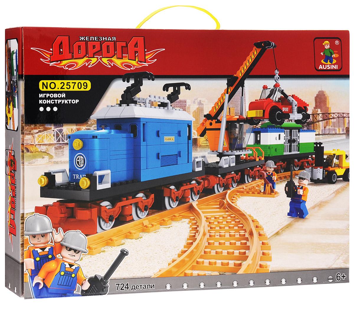Ausini Конструктор Поезд 2570925709Конструктор Ausini Поезд состоит из 724 элементов, с помощью которых ребенок сможет построить железную дорогу с большим локомотивом, оснащенным железнодорожным краном на платформе и вагоном, легковой автомобиль и автопогрузчик. Поезд двигается по железной дороге, перемещая с помощью крана автомобиль. В комплект также включены 3 фигурки железнодорожных рабочих и 1 машиниста. Детали между собой прекрасно скрепляются, а также совместимы с конструкторами других марок. Малыш часами будет играть с этим конструктором, придумывая разные истории и комбинируя детали. Конструктор Ausini Поезд - это замечательная развивающая игрушка, которая послужит не только в качестве развлечения вашего ребенка, но и поможет ему в совершенствовании таких жизненно важных навыков, как мелкая моторика, тактильное и визуальное восприятие, мышление, воображение, внимательность и усидчивость, а также познакомит его с основами моделирования и конструирования. Совместим с конструкторами...
