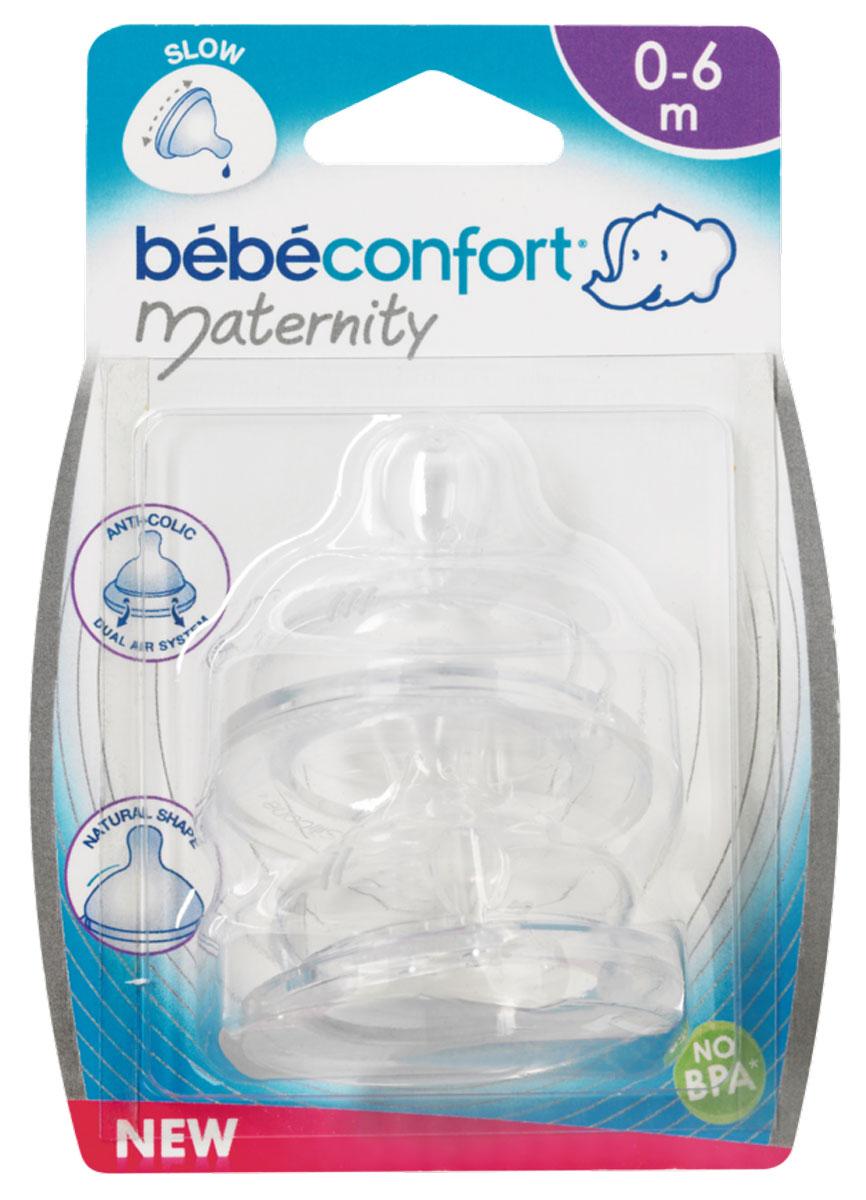 Bebe Confort Соска Maternity S2 силикон 6-24мес. 2 шт.30000866Комплект из 2-х сосок из силикона для бутылочек с широким горлышком. для молока или воды. 6-24 мес.