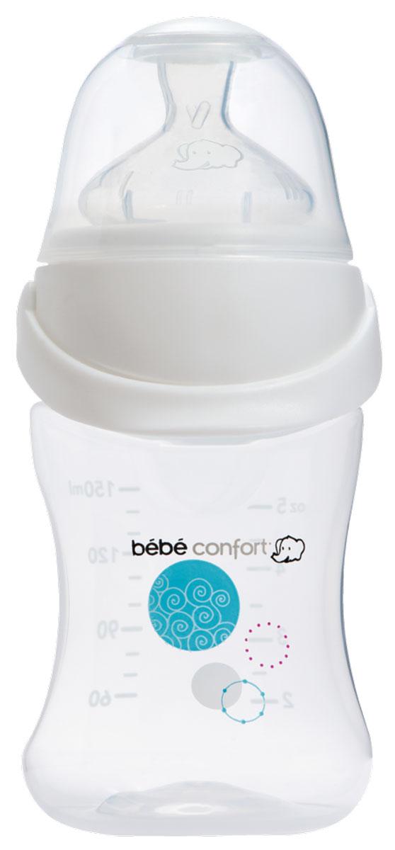 Bebe Confort Бутылочка пластик EasyClip 150 мл. 0-6мес. бел, с/с, S1