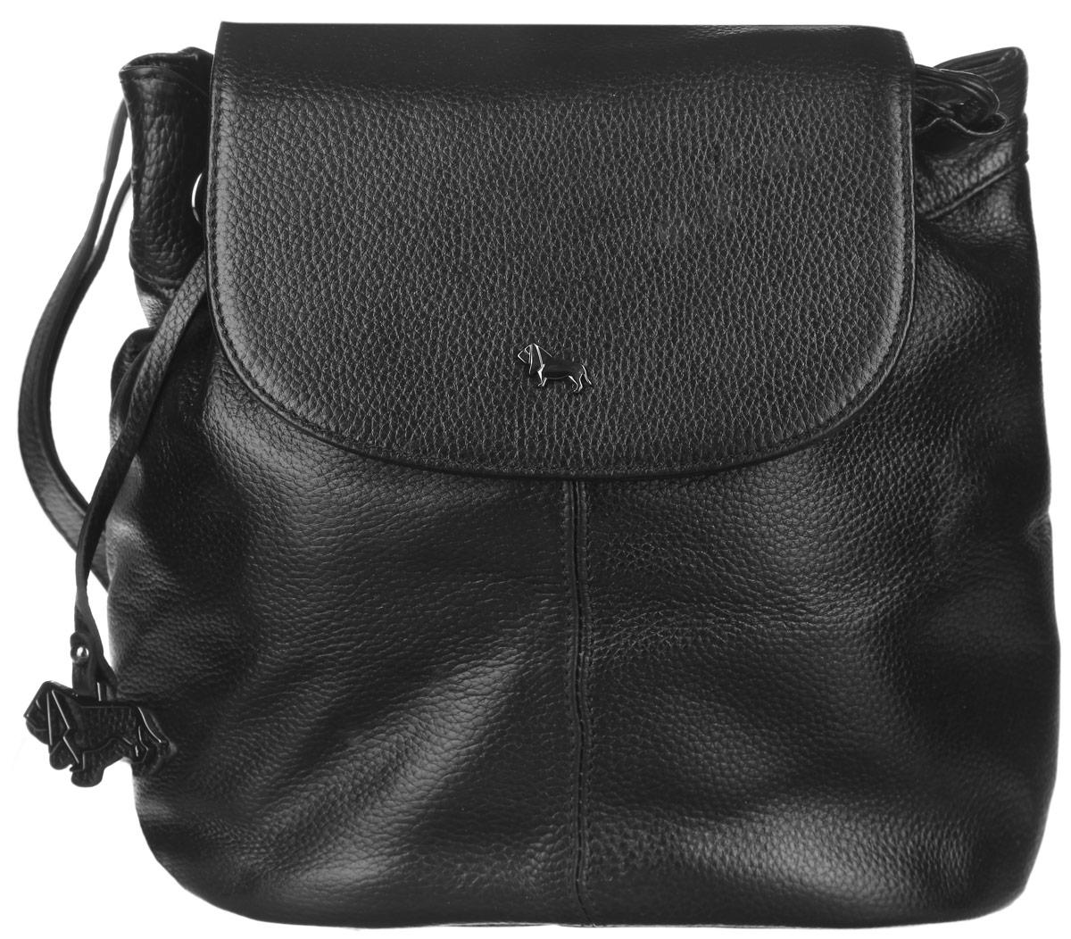 Рюкзак женский Labbra, цвет: черный. L-9916-1L-9916-1Оригинальный женский рюкзак Labbra выполнен из натуральной кожи с зернистой фактурой. Изделие оформлено металлической фурнитурой и подвеской в форме логотипа бренда. Рюкзак закрывается на магнитный клапан и дополнительно на затягивающийся шнурок. Внутри расположен врезной карман на молнии, два накладных кармана для телефона и мелочей. Снаружи, в задней стенке рюкзака расположен врезной карман на молнии. Рюкзак оснащен практичной лямкой, которая позволит носить изделие, как в руках, так и на плечах. Стильный рюкзак Labbra прекрасно дополнит ваш образ.