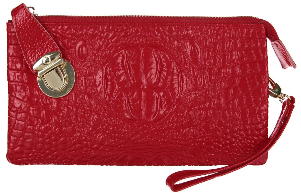 Клатч Cheribags, цвет: красный. 603-16603-16Элегантный клатч Cheribags выполнен из натуральной кожи с тиснением под рептилию и дополнен металлической фурнитурой. Изделие содержит два отделения, которые закрываются на застежку-молнию и дополнительно хлястиком на замок-защелку. Внутри расположен врезной карман на молнии, открытый карман между отделениями и накладной карман для мелочей. Изделие дополнено практичной съемной ручкой-петлей на запястье и съемным плечевым ремнем, длина которого регулируется при помощи пряжки. Клатч Cheribags прекрасно дополнит образ и подчеркнет ваш неповторимый стиль.