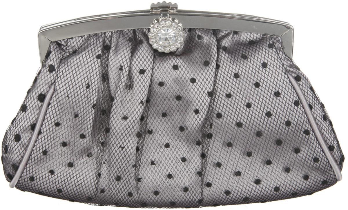Сумка вечерняя Fabretti, цвет: серебряный. WLU8681-3WLU8681-3 silverЭлегантная сумка Fabretti выполнена из полиэстера серебристого цвета и дополнена декоративной черной сеточкой. Изделие закрывается на застежку-защелку, украшенную стразами. Внутри - одно большое отделение и один накладной карман. Ручка выполнена в виде оригинальной цепочки.