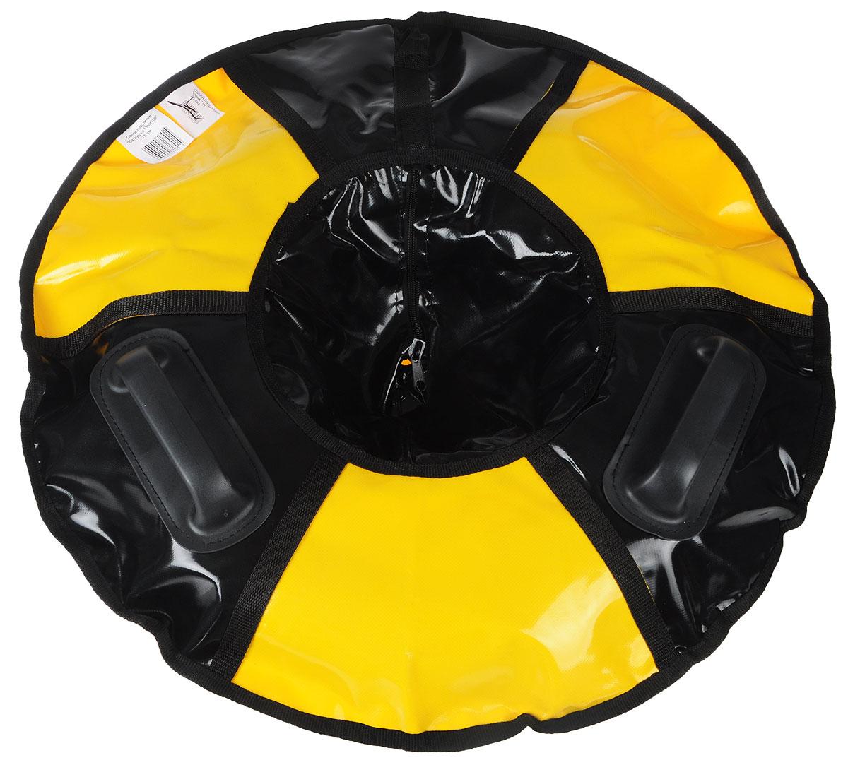 Санки надувные Мегабайк Реактор, цвет: черный, желтый, диаметр 75 см28263051Любимая детская зимняя забава - это кататься с горки. Надувные санки Реактор - это отличный вариант для тех, кто любит весело проводить время на свежем воздухе. Надувные санки Реактор - это оригинальные круглые санки с простым дизайном, использованием износостойких материалов и комплектацией, достаточной для регулярного катания. Санки оборудованы плотной лентой для удобной буксировки. Две литые ручки приклеенные к чехлу санок особым клеем, который используется при производстве надувных лодок. Диаметр в накаченном состоянии: 75 см. Длина буксировочного троса: 1,2 м. Используемые камеры: R-13. Рекомендованное давление 0.06 Атм. УВАЖАЕМЫЕ КЛИЕНТЫ! Просим обратить ваше внимание на тот факт, что санки поставляются в сдутом виде и надуваются при помощи насоса (насос не входит в комплект).