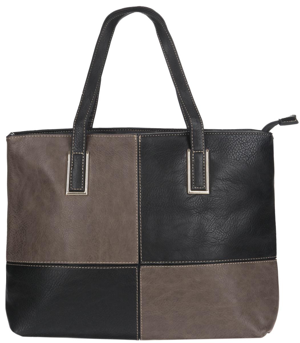 Сумка женская Flioraj, цвет: черный, темно-коричневый. 3232 черн хакиСтильная сумка Flioraj выполнена из экокожи, дополнена вставками из искусственной кожи контрастных оттенков и оформлена контрастной строчкой. Изделие содержит одно отделение, которое закрывается на молнию, внутри расположены два накладных кармана для телефона и мелочей, врезной карман на молнии и карман-средник на молнии. Снаружи, в тыльной стенке сумки расположен врезной карман на молнии. Изделие дополнено двумя практичными ручками с металлической фурнитурой. Дно сумки оснащено металлическими ножками. Сумка Flioraj прекрасно дополнит образ и подчеркнет ваш неповторимый стиль.