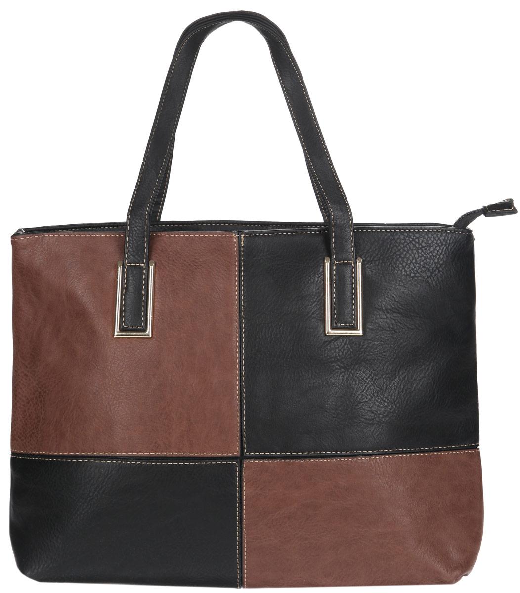Сумка женская Flioraj, цвет: черный, коричневый. 3232 черн коричнСтильная сумка Flioraj выполнена из экокожи, дополнена вставками из экокожи контрастных оттенков и оформлена контрастной строчкой. Изделие содержит одно отделение, которое закрывается на молнию, внутри расположены два накладных кармана для телефона и мелочей, врезной карман на молнии и карман-средник на молнии. Снаружи, в тыльной стенке сумки расположен врезной карман на молнии. Изделие дополнено двумя практичными ручками с металлической фурнитурой. Дно сумки оснащено металлическими ножками. Сумка Flioraj прекрасно дополнит образ и подчеркнет ваш неповторимый стиль.
