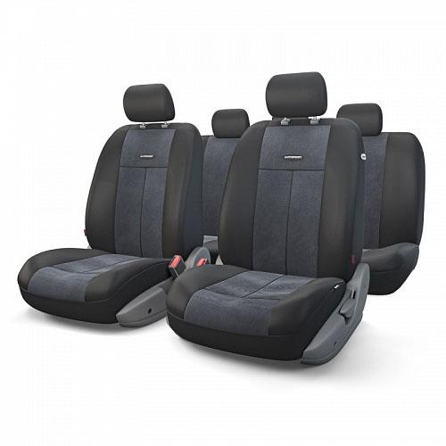 Авточехлы Autoprofi TT, цвет: черный, 9 предметов. TT-902V BK/BKTT-902V BK/BKАвтомобильные чехлы Autoprofi TT изготавливаются из высококачественного полиэстера со вставками из поролона, обеспечивающего сцепление с сиденьем. Мягкие чехлы являются отличным дополнением салона любого автомобиля. Изделия придают автомобильному интерьеру современные и солидные черты. Универсальная конструкция подходит для большинства автомобильных сидений. Подходят для автомобилей с боковыми подушками безопасности (распускаемый шов). Специальные молнии, расположенные в чехлах спинки заднего ряда, позволяют использовать чехлы на автомобилях с различными пропорциями складывания заднего ряда. Комплектация: 5 подголовников, 2 чехла сидений переднего ряда, 1 спинка заднего ряда, 1 сиденье заднего ряда.