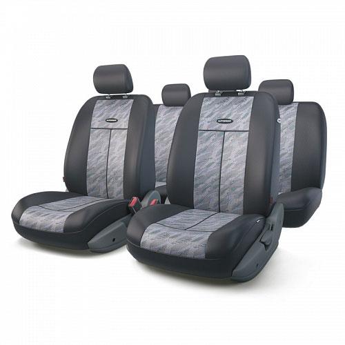 Авточехлы Autoprofi TT, цвет: черный, серый, 9 предметов. TT-902J CLOUDTT-902J CLOUDАвтомобильные чехлы Autoprofi TT изготавливаются из высококачественного полиэстера со вставками из поролона, обеспечивающего сцепление с сиденьем. Мягкие чехлы являются отличным дополнением салона любого автомобиля. Изделия придают автомобильному интерьеру современные и солидные черты. Универсальная конструкция подходит для большинства автомобильных сидений. Подходят для автомобилей с боковыми подушками безопасности (распускаемый шов). Специальные молнии, расположенные в чехлах спинки заднего ряда, позволяют использовать чехлы на автомобилях с различными пропорциями складывания заднего ряда. Комплектация: 5 подголовников, 2 чехла сидений переднего ряда, 1 спинка заднего ряда, 1 сиденье заднего ряда.