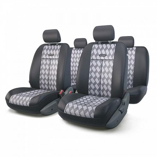 Авточехлы Autoprofi TT, цвет: черный, серый, 9 предметов. TT-902J CHESSTT-902J CHESSАвтомобильные чехлы Autoprofi TT изготавливаются из высококачественного полиэстера со вставками из поролона, обеспечивающего сцепление с сиденьем. Мягкие чехлы являются отличным дополнением салона любого автомобиля. Изделия придают автомобильному интерьеру современные и солидные черты. Универсальная конструкция подходит для большинства автомобильных сидений. Подходят для автомобилей с боковыми подушками безопасности (распускаемый шов). Специальные молнии, расположенные в чехлах спинки заднего ряда, позволяют использовать чехлы на автомобилях с различными пропорциями складывания заднего ряда. Комплектация: 5 подголовников, 2 чехла сидений переднего ряда, 1 спинка заднего ряда, 1 сиденье заднего ряда.