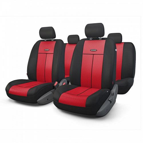 Авточехлы Autoprofi TT, цвет: черный, красный, 9 предметов. TT-902M BK/RDTT-902M BK/RDАвтомобильные чехлы Autoprofi TT изготавливаются из высококачественного полиэстера со вставками из поролона, обеспечивающего сцепление с сиденьем. Мягкие чехлы являются отличным дополнением салона любого автомобиля. Изделия придают автомобильному интерьеру современные и солидные черты. Универсальная конструкция подходит для большинства автомобильных сидений. Подходят для автомобилей с боковыми подушками безопасности (распускаемый шов). Специальные молнии, расположенные в чехлах спинки заднего ряда, позволяют использовать чехлы на автомобилях с различными пропорциями складывания заднего ряда. Комплектация: 5 подголовников, 2 чехла сидений переднего ряда, 1 спинка заднего ряда, 1 сиденье заднего ряда.