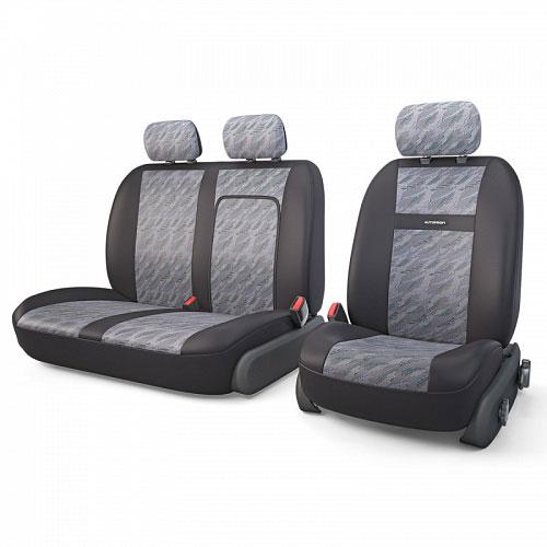 Авточехлы Autoprofi Tranzit, для фургонов, цвет: черный, серый, 7 предметов. TRZ-702 CLOUD