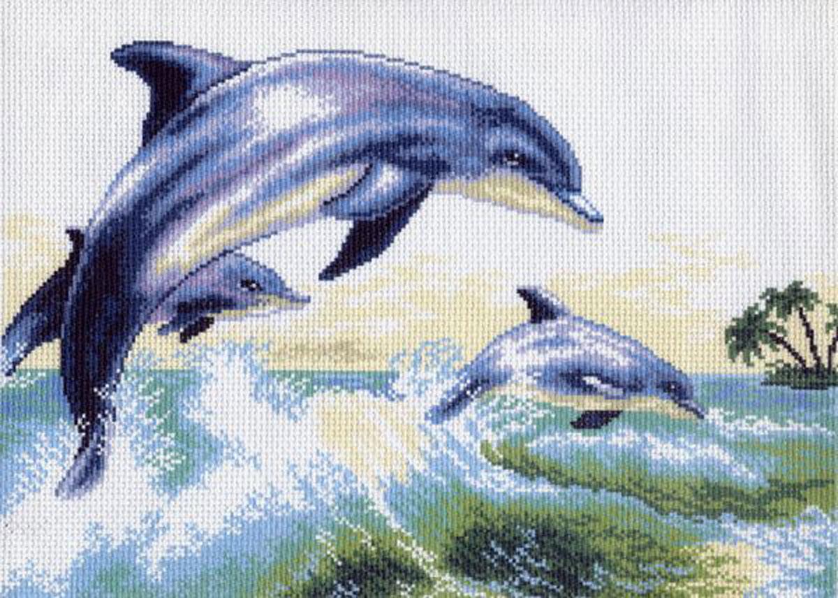 Канва с рисунком для вышивания Дельфины, 41,1 х 27,2 см549998Канва с рисунком Дельфины изготовлена из хлопка, которая поможет вам создать свой личный шедевр - красивую вышитую картину. Вышивка выполняется в технике полный крестик в 2-3 нити или полукрестом в 4 нити. На полях рисунка указаны цветовая палитра и предполагаемый метраж ниток для вышивки. Вышивание отвлечет вас от повседневных забот и превратится в увлекательное занятие! Работа, сделанная своими руками, создаст особый уют и атмосферу в доме и долгие годы будет радовать вас и ваших близких. Рекомендуемое количество цветов: 14. Размер готового рисунка: 41,1 см х 27,2 см. Нитки в комплект не входят.