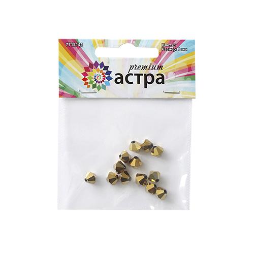Бусины Астра Premium, цвет: золотистый (3), 8 мм х 8 мм, 13 шт7712141_3-золотоНабор бусин Астра Premium, изготовленный из стекла, позволит вам своими руками создать оригинальные ожерелья, бусы или браслеты. Граненые бусины имеют два отверстия для продевания нитки или лески. Изготовление украшений - занимательное хобби и реализация творческих способностей рукодельницы, это возможность создания неповторимого индивидуального подарка. Размер бусины: 8 мм х 8 мм.