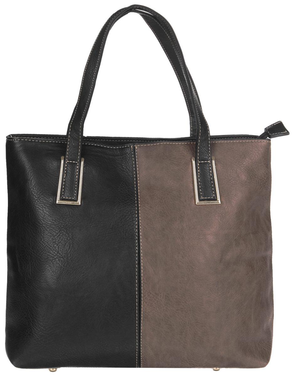 Сумка женская Flioraj, цвет: черный, темно-коричневый. 3535 черн хакиСтильная сумка Flioraj выполнена из экокожи, дополнена вставками из экокожи контрастных оттенков и оформлена контрастной строчкой. Изделие содержит одно отделение, которое закрывается на молнию, внутри расположены два накладных кармана для телефона и мелочей, врезной карман на молнии и карман-средник на молнии. Снаружи, в тыльной стенке сумки расположен врезной карман на молнии. Изделие дополнено двумя практичными ручками с металлической фурнитурой. Дно сумки оснащено металлическими ножками. Сумка Flioraj прекрасно дополнит образ и подчеркнет ваш неповторимый стиль.