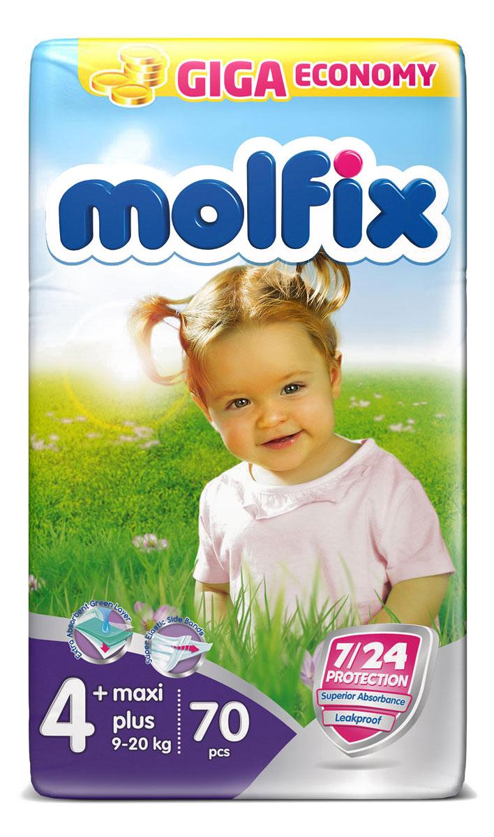 Подгузники Molfix Макси Плюс (9-20 кг), 70 шт14917Новинка! Ни для кого не секрет, что каждая мама хочет обеспечить защиту и комфорт для своего малыша. Новые премиальные подгузники Molfix отвечают самым высоким стандартам качества категории и соответствуют ожиданиям даже самых взыскательных мам: они отлично впитывают, тонкие и эластичные, обеспечивают малышам надежную защиту, комфорт и хорошее настроение. Подгузники Molfix дерматологически протестированы и одобрены независимым исследовательским институтом Dermatest GmbH (Германия). Особенности: • Специальный ультра впитывающий слой обеспечивает быстрое впитывание; • Тонкая анатомическая структура для комфорта малыша; • Ультра эластичные боковинки обеспечивают свободу движений; • «Дышащий» внешний слой и ультра мягкий внутренний слой для заботы о коже малыша; • Защитные барьерчики обеспечивают защиту от протеканий. В каждой упаковке подгузников Molfix веселые и красочные дизайны на подгузниках!