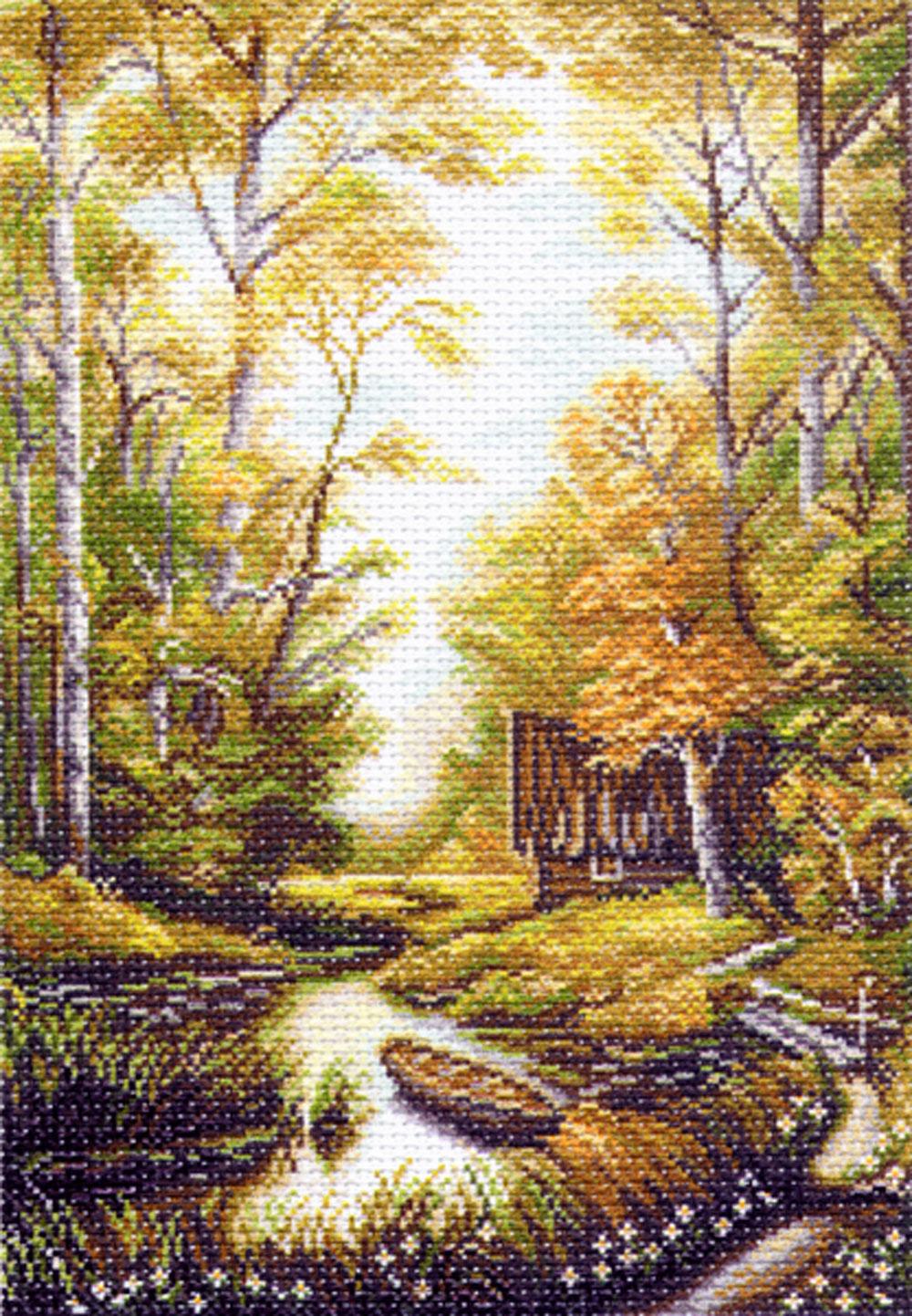 Канва с рисунком для вышивания Сторожка лесника, 37,5 см х 26 см549908Канва с рисунком Сторожка лесника изготовлена из хлопка, которая поможет вам создать свой личный шедевр - красивую вышитую картину. Вышивка выполняется в технике полный крестик в 2-3 нити или полукрестом в 4 нити. На полях рисунка указаны цветовая палитра и предполагаемый метраж ниток для вышивки. Вышивание отвлечет вас от повседневных забот и превратится в увлекательное занятие! Работа, сделанная своими руками, создаст особый уют и атмосферу в доме и долгие годы будет радовать вас и ваших близких. Рекомендуемое количество цветов: 23. Размер готового рисунка: 37,5 см х 26 см. Нитки в комплект не входят.