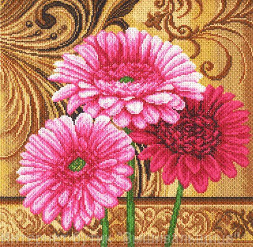 Канва с рисунком для вышивания Герберы на золотом, 33,8 х 33,8 см551172Канва с рисунком Герберы на золотом изготовлена из хлопка, которая поможет вам создать свой личный шедевр - красивую вышитую картину. Вышивка выполняется в технике полный крестик в 2-3 нити или полукрестом в 4 нити. На полях рисунка указаны цветовая палитра и предполагаемый метраж ниток для вышивки. Вышивание отвлечет вас от повседневных забот и превратится в увлекательное занятие! Работа, сделанная своими руками, создаст особый уют и атмосферу в доме и долгие годы будет радовать вас и ваших близких. Рекомендуемое количество цветов: 16. Размер готового рисунка: 33,8 см х 33,8 см. Нитки в комплект не входят.