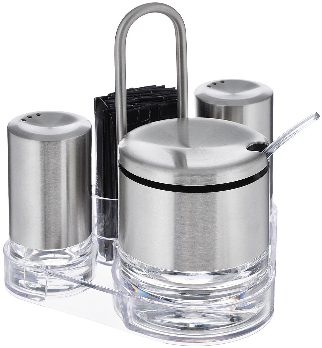 Набор для стола Emsa Accenta, 5 предметов507641Набор для стола Emsa Accenta состоит из солонки, перечницы, сахарницы с ложкой, подставки и зубочисток. Емкости выполнены из высококачественного отполированного до блеска стекла и матовой нержавеющей стали 18/10. Сахарница снабжено крышкой и пластиковой ложкой. Для предметов набора предусмотрена прозрачная пластиковая подставка. Каждая зубочистка упакована в бумажную обертку. Стильный и функциональный набор прекрасно будет смотреться в интерьере кухни и прослужит вам долгие годы. Размер солонки/перечницы: 4 см х 4 см х 8 см. Размер сахарницы: 7 см х 7 см х 8 см. Длина ложки: 12 см. Размер подставки: 14,5 см х 11 см х 14 см.