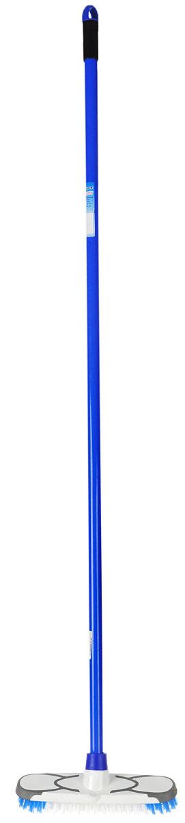 Щетка-скрабер Banat, цвет: синий731355_синийЩетка-скрабер Banat оснащена короткой жесткой щетиной, которая позволит быстро и легко удалить самые сильные загрязнения с любых поверхностей, втереть очиститель ковровых покрытий, вычистить ковер от шерсти, отмыть плиточные швы, камень. Рукоятка изготовлена из металла с цветным покрытием. Снабжена отверстием для подвеса. Имеет стандартную резьбу, подходящую к большинству видов насадок. Размер рабочей поверхности: 24 см х 6 см. Длина щетины: 2 см. Длина рукоятки: 120 см.
