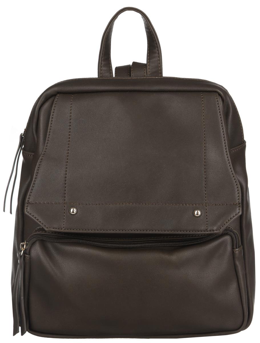 Рюкзак женский Ors Oro, цвет: коричневый. D-142D-142/10Стильный женский рюкзак Ors Oro выполнен из экокожи с зернистой фактурой, оформлен металлической фурнитурой. Изделие содержит одно отделение, закрывающееся на молнию. Внутри расположены два накладных кармана для телефона и мелочей и врезной карман на молнии. Снаружи, в задней стенке расположен врезной карман на застежке молнии. В передней стенке расположен накладной карман на молнии и врезной карман, закрывающийся на молнию и дополнительно на клапан с магнитной кнопкой. Изделие дополнено практичной петлей для подвешивания и двумя лямками, длина которых регулируется при помощи пряжек. Рюкзак Ors Oro прекрасно дополнит образ и подчеркнет ваш стиль.