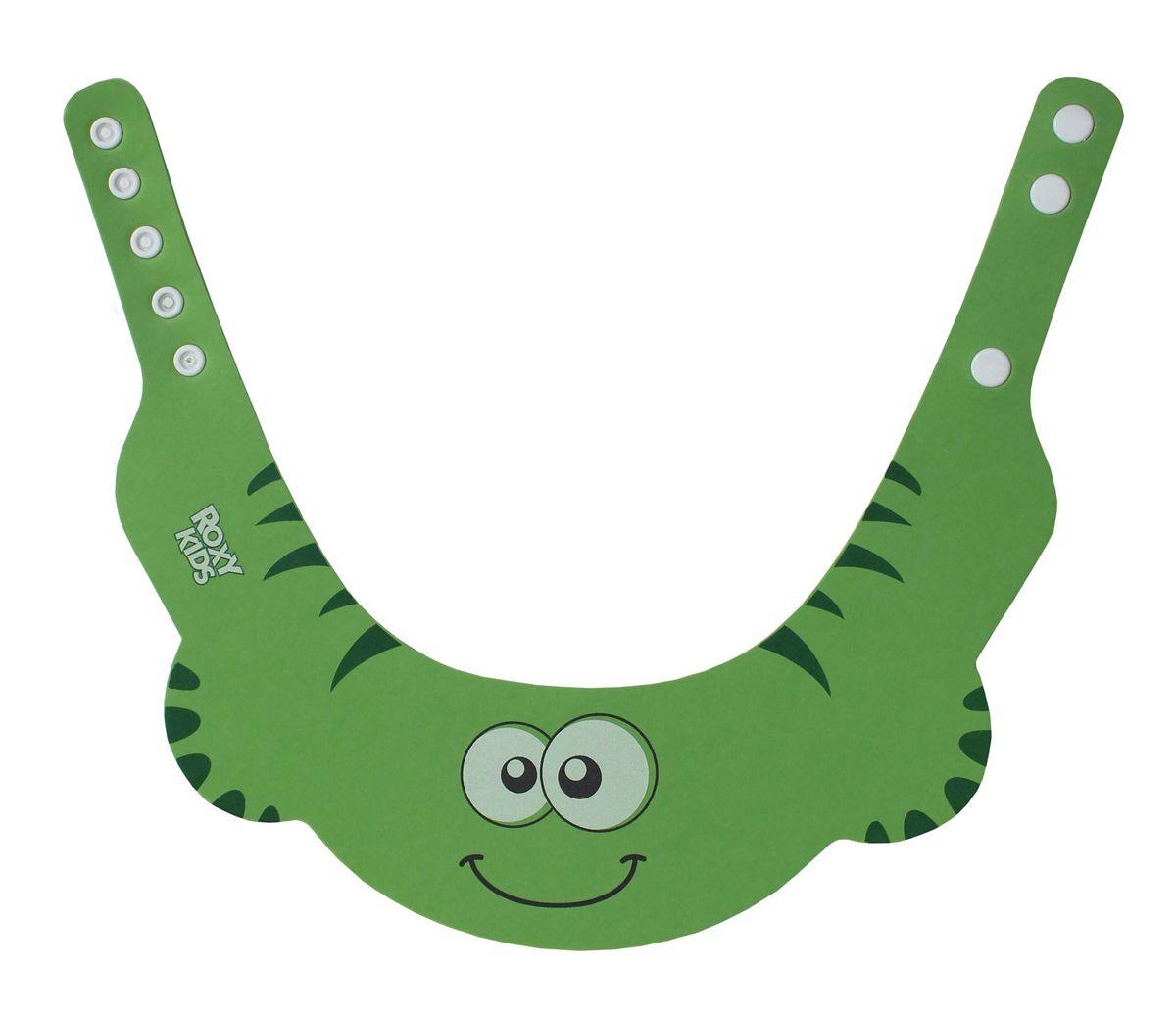 Roxy-kids Козырек защитный для мытья головы цвет зеленыйRBC-492-GКозырек для мытья головы детей Roxy-kids от 6 месяцев до 3 лет защитит глазки малыша от мыла и шампуня. Наденьте козырек для купания ребенка на голову малыша так, чтобы волосы остались над полями. Во время мытья головы шампунь не попадет ему в глаза, нос и уши, а процесс купания ребенка перестанет быть неприятным ежедневным испытанием для крохи и его родителей. С защитным козырьком ваш малыш не заплачет, когда ему моют голову. Козырек имеет удобные застежки и забавный дизайн, что очень понравится малышу.