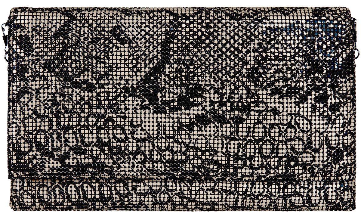 Клатч женский Модные истории, цвет: бежевый, черный. 3/02233/0223Стильный клатч Модные истории выполнен из металлической кольчуги и текстиля. Изделие оформлено оригинальным орнаментом. Клатч закрывается по принципу конверта на магнитную кнопку. Внутри изделие содержит вместительное отделение, в котором предусмотрен врезной карман на молнии. Клатч оснащен съемным плечевым ремнем в виде тонкой цепочки. Оригинальный аксессуар позволит вам завершить образ и быть неотразимой.