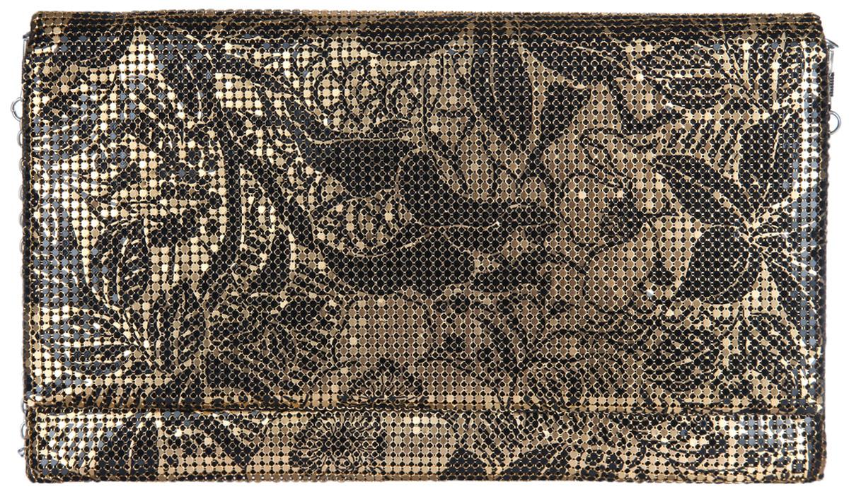 Клатч женский Модные истории, цвет: золотой, черный. 3/02223/0222Стильный клатч Модные истории выполнен из металлической кольчуги и текстиля. Изделие оформлено оригинальным цветочным орнаментом. Клатч закрывается по принципу конверта на магнитную кнопку. Внутри изделие содержит вместительное отделение, в котором предусмотрен врезной карман на молнии. Клатч оснащен съемным плечевым ремнем в виде тонкой цепочки. Оригинальный аксессуар позволит вам завершить образ и быть неотразимой.