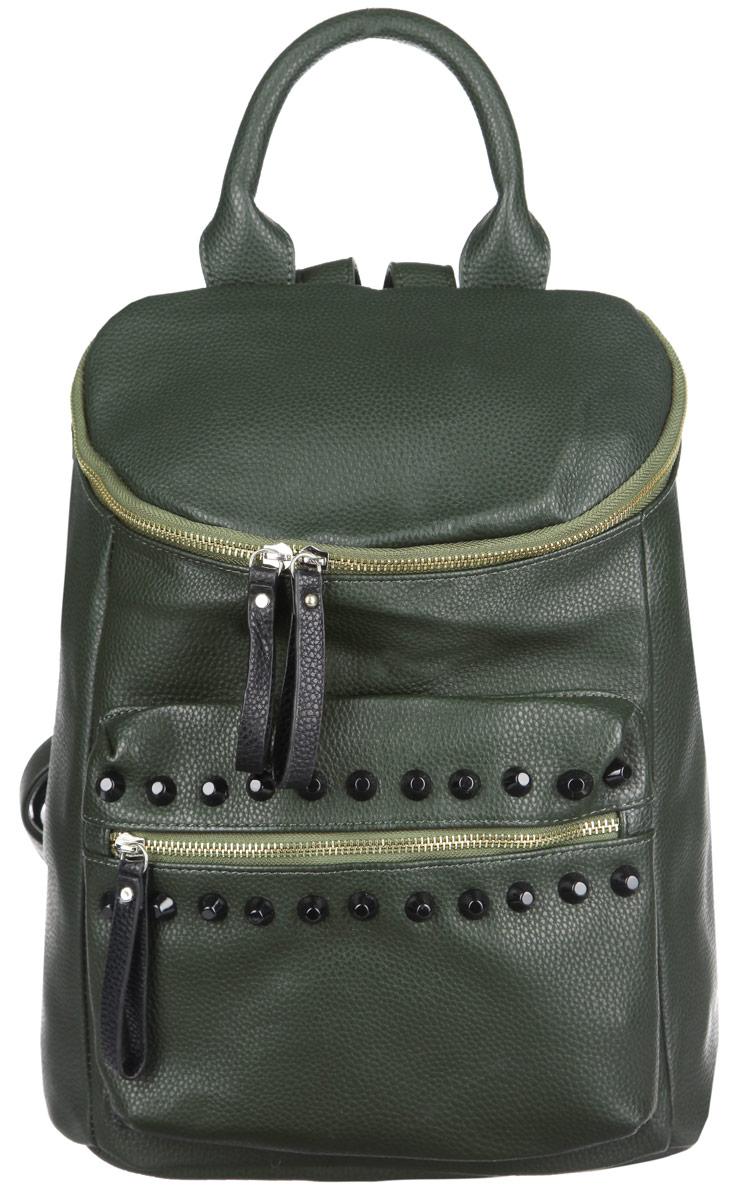 Рюкзак женский Ors Oro, цвет: темно-зеленый. D-138D-138/35Стильный женский рюкзак Ors Oro выполнен из экокожи с зернистой фактурой, оформлен металлической фурнитурой. Изделие содержит одно отделение, закрывающееся на металлическую застежку-молнию. Внутри расположены два накладных кармана для телефона и мелочей и врезной карман на молнии. Снаружи, в задней стенке расположен врезной карман на застежке-молнии. На фронтальной стенке расположен объемный накладной карман на молнии, декорированный шипами. Изделие дополнено практичной петлей для подвешивания и двумя лямками, длина которых регулируется при помощи пряжек. Рюкзак Ors Oro прекрасно дополнит образ и подчеркнет ваш стиль.