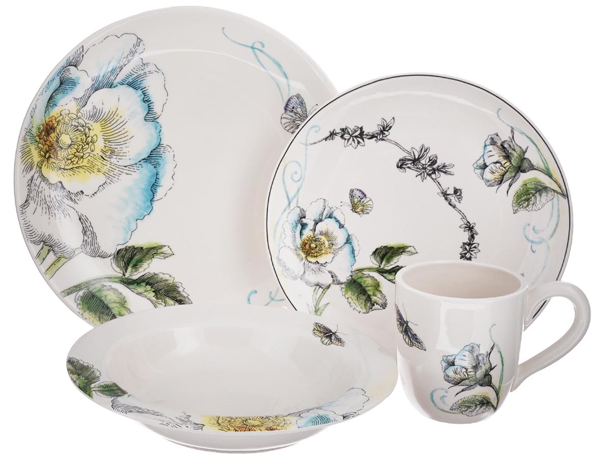 Набор посуды Fitz and Floyd Цветок, 4 предмета20-224Набор посуды Fitz and Floyd Цветок выполнен из высококачественной керамики. Изделия декорированы цветочным узором. Набор состоит из четырех предметов: глубокой, суповой, плоской тарелок и кружки. Посуда из керамики отличается превосходным качеством. Двойной обжиг, насыщенные цвета, удивительный блеск глазури и уникальная ручная роспись. Этот прекрасный цветочный декор создает особенное, праздничное, настроение и станет настоящим украшением вашего стола. Не рекомендуется мыть в посудомоечной машине. Диаметр большой тарелки: 27,5 см. Высота большой тарелки: 2 см. Диаметр плоской тарелки: 23 см. Высота плоской тарелки: 1,5 см. Диаметр суповой тарелки: 23 см. Высота суповой тарелки: 3 см. Объем кружки: 200 мл. Диаметр кружки (по верхнему краю): 9 см. Высота кружки: 10 см.