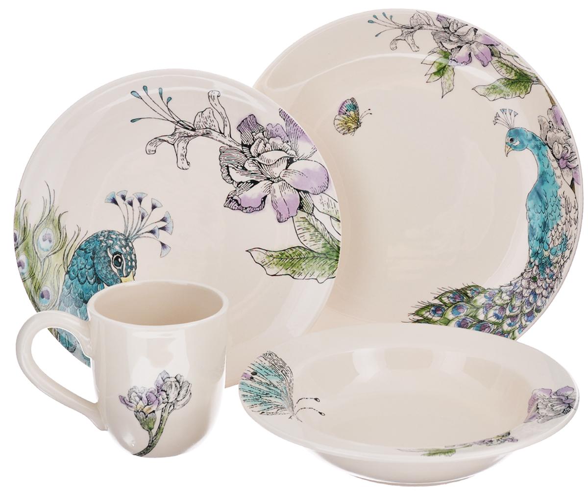 Набор столовой посуды Fitz and Floyd Павлин, 4 предмета20-295Набор столовой посуды Fitz and Floyd Павлин выполнен из высококачественной керамики и декорирован изящным рисунком. Набор включает: большую тарелку, малую тарелку, тарелку для супа и кружку. Столовый набор Fitz and Floyd Павлин сочетает в себе изысканный дизайн с максимальной функциональностью. Предметы набора допустимо использовать в микроволновой печи и мыть в посудомоечной машине. Диаметр большой тарелки: 28 см. Высота большой тарелки: 4 см. Диаметр малой тарелки: 23,5 см. Высота малой тарелки: 2,5 см. Диаметр суповой тарелки: 23,5 см. Высота суповой тарелки: 4,5 см. Диаметр кружки (по верхнему краю): 9 см. Высота стенок кружки: 10 см. Объем кружки: 400 мл. Такой набор будет уместен на любой кухне и прекрасно подойдет для сервировки праздничного стола.