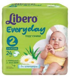 Libero Подгузники Everyday (3-6 кг) 24 шт5688Подгузники Libero Every Day, выполненные из мягкого материала, отлично сидят и заботятся о сухости и комфорте вашего малыша. Преимущества подгузников Libero Every Day: позволяют коже дышать, при этом хорошо впитывают; эластичный удобный поясок и тянущиеся боковинки; мягкие барьерчики от протекания по бокам и резиночки вокруг ножек. Характеристики: Весовая категория: 3-6 кг. Количество: 24 шт. Размер: 2.