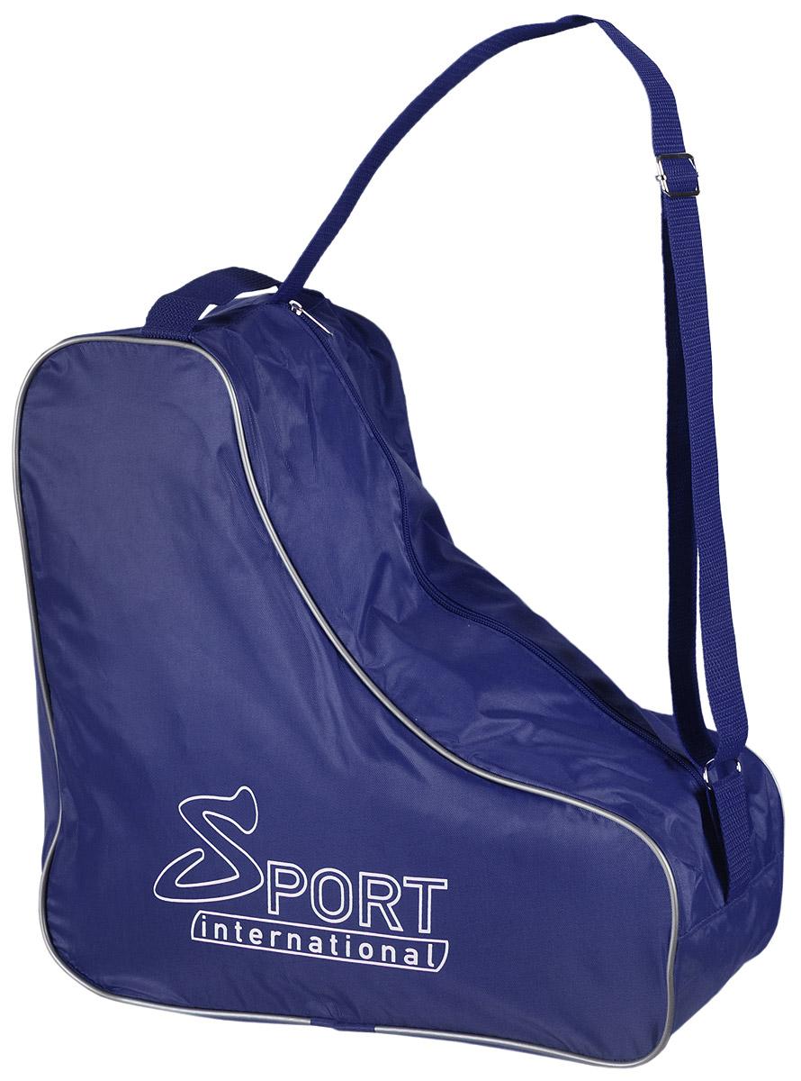Сумка для коньков Sport international, цвет: синий28262981Универсальная сумка Sport international для хранения и транспортировки хоккейных, фигурных, роликовых коньков. Сумка надежна и устойчива к внешним воздействиям: влаге, холоду, ветру. Имеет регулируемую ручку через плечо.