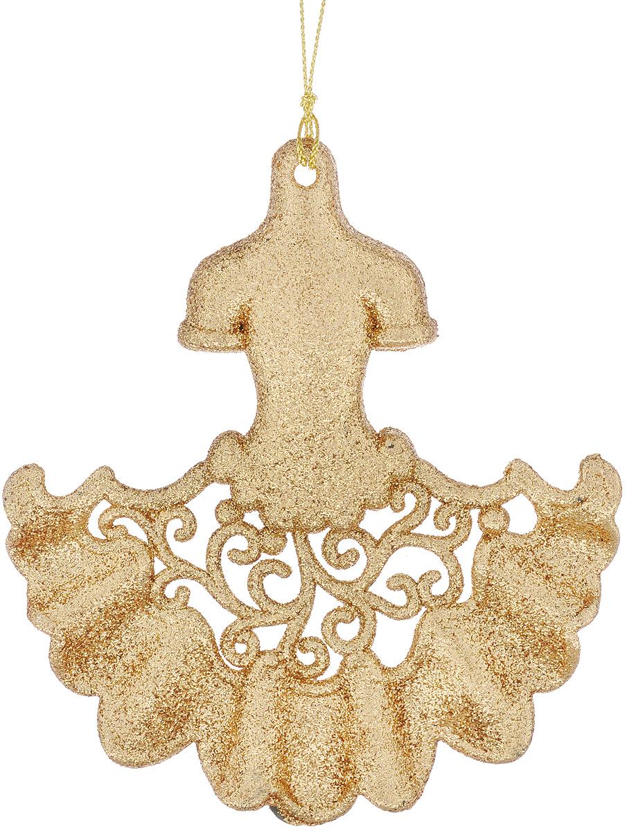 Новогоднее подвесное украшение Феникс-Презент Платье, цвет: золотистый38702Новогоднее украшение Феникс-Презент Платье, изготовленное из пластика, отлично подойдет для декорации вашего дома и новогодней ели. Украшение выполнено в виде платья с блестками и оснащено текстильной петелькой, с помощью которой его можно повесить в любом понравившемся вам месте. Елочная игрушка - символ Нового года. Она несет в себе волшебство и красоту праздника. Создайте в своем доме атмосферу веселья и радости, украшая всей семьей новогоднюю елку нарядными игрушками, которые будут из года в год накапливать теплоту воспоминаний.