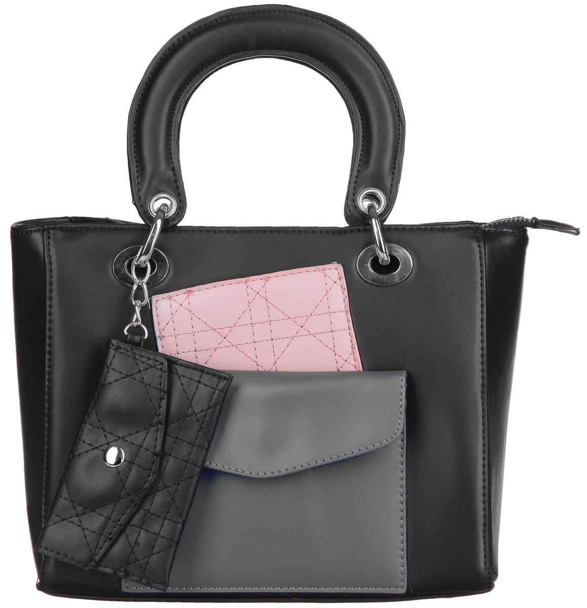 Сумка женская Ors Oro, цвет: черный, розовый, хаки. D-129D-129/24Стильная сумка Ors Oro выполнена из экокожи, оформлена вставками из искусственной кожи контрастных оттенков и дополнена подвеской с декоративным кошельком. Изделие содержит одно отделение, которое закрывается на молнию, внутри расположены два накладных кармана для телефона и мелочей, врезной карман на молнии. Снаружи, на лицевой стенке сумки расположен накладной кармана на магнитной кнопке. Изделие дополнено двумя практичными ручками с металлической фурнитурой. Дно сумки оснащено металлическими ножками. Сумка Ors Oro прекрасно дополнит образ и подчеркнет ваш неповторимый стиль.