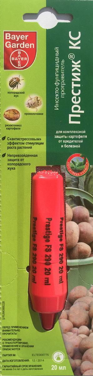 Средство Bayer Garden Престиж КС, для комплексной защиты картофеля от вредителей и болезней, 20 млПрестиж 20 млСредство Bayer Garden Престиж КС - это уникальный оригинальный продукт компании Bayer Garden, у которого в России нет аналогов. Он объединяет в себе чрезвычайно эффективную защиту картофеля от вредителей и болезней одновременно с антистрессовым эффектом стимулирования растений. Препарат предназначен для обработки клубней картофеля перед посадкой, что предотвращает распространение таких вредителей, как колорадский жук, проволочники, личинки хрущей, цикадки, тли, трипсы, моль, блошки. При этом контроль над вредителями происходит с самого начала вегетации и как минимум до конца цветения картофеля. Фунгицидное действие препарата направленно на защиту картофеля от ризоктониоза, при хорошем дополнительном эффекте - против разных видов парши и мокрых гнилей. Состав: имидаклоприд - 140 г /л, пенцикурон - 150 г/л. Класс опасности: 3 класс (умеренно опасное соединение). Объем: 20 мл.