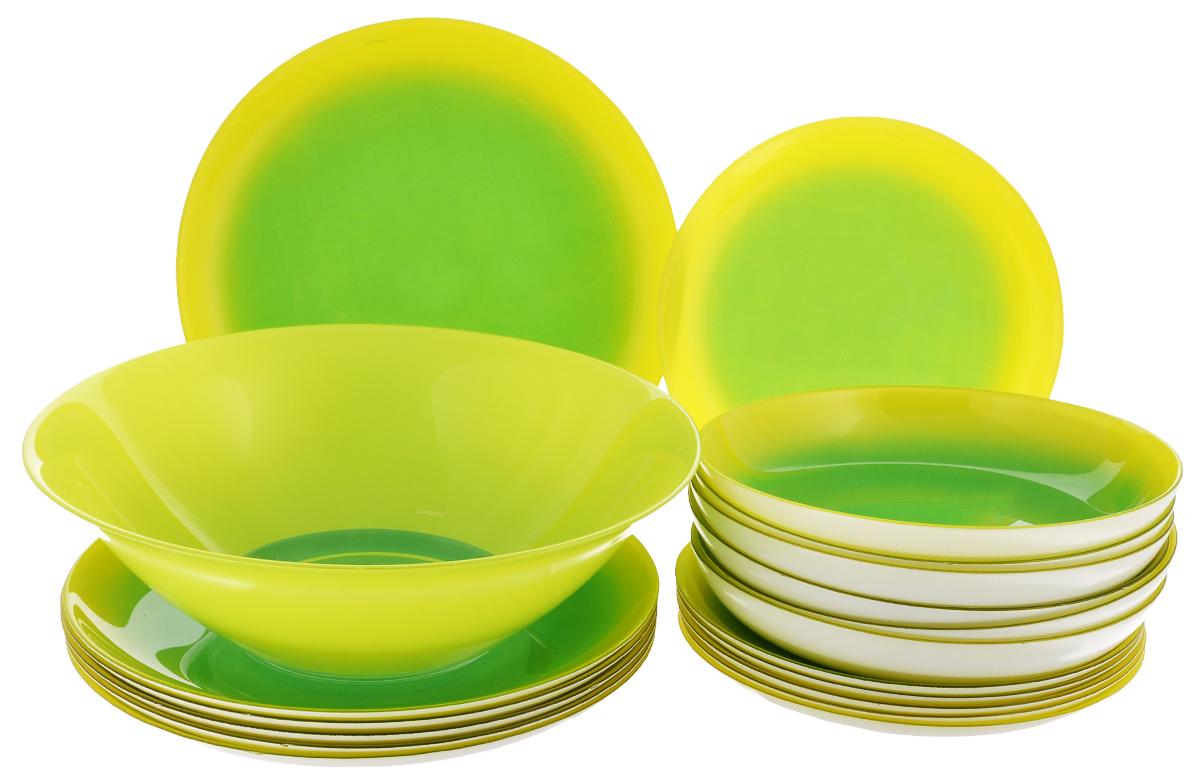 Набор столовый Luminarc Mint Fizz, 19 предметовG9567Столовый набор Luminarc Mint Fizz из серии Color Vibrance состоит из 6 суповых тарелок, 6 обеденных тарелок, 6 десертных тарелок и глубокого салатника. Изделия выполнены из ударопрочного стекла, имеют яркий дизайн и классическую круглую форму. Посуда отличается прочностью, гигиеничностью и долгим сроком службы, она устойчива к появлению царапин и резким перепадам температур. Серия посуды Color Vibrance - это инновационная линия стеклянной посуды, в декоре которой использованы только органические красители для создания жизнерадостных цветов, которые сохраняют свою яркость при ежедневном использовании. Цвета не содержат свинца и кадмия, что делает их совершенно безопасными для вашего здоровья при контакте с пищей. Декоры сохраняют блеск и интенсивность цвета от мойки к мойке. Такой набор прекрасно подойдет как для повседневного использования, так и для праздников или особенных случаев. Столовый набор Luminarc - это не только яркий и полезный...