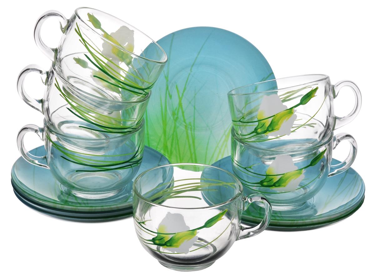 Набор чайный Luminarc Sofiane, 12 предметов. J2622J2622Чайный набор Luminarc Sofiane состоит из 6 чашек и 6 блюдец. Изделия выполнены из высококачественного ударопрочного стекла, имеют яркий дизайн с красивым цветочным рисунком и классическую форму. Посуда отличается прочностью, гигиеничностью и долгим сроком службы, она устойчива к появлению царапин и резким перепадам температур. Такой набор прекрасно подойдет как для повседневного использования, так и для праздников или особенных случаев. Чайный набор Luminarc - это не только яркий и полезный подарок для родных и близких, это также великолепное дизайнерское решение для вашей кухни или столовой. Изделия можно мыть в посудомоечной машине и использовать в СВЧ-печи. Объем чашки: 220 мл. Диаметр чашки (по верхнему краю): 8 см. Высота чашки: 6 см. Диаметр блюдца: 14 см.