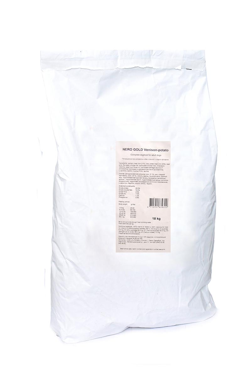 NERO GOLD super premium Для Взрослых собак c Олениной и сладким картофелем (Venison&Potato 20/10), 18 кг.10194Состав: дегидрированная оленина (мин. 21 %), рис, картофельная мука (мин. 20 %), мякоть свеклы, льняное семя, куриный жир, гидролизованная куриная печень, минералы и витамины, дрожжи, подсолнечное масло, гидролизованные хрящи (источник хондроитина), гидролизат ракообразных (источник глюкозамина), L-карнитин, лецитин, инулин (ФОС), таурин.