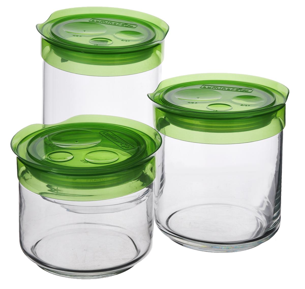 Набор банок для сыпучих продуктов Luminarc, цвет: зеленый, прозрачный, 3 штL1100Набор Luminarc состоит из трех банок для сыпучих продуктов разного объема. Изделия выполнены из прочного стекла и оснащены герметичными пластиковыми крышками. Внутри создается вакуум, благодаря чему продукты дольше сохраняют свежесть и аромат. Стенки прозрачные, что позволяет видеть содержимое. Такие банки прекрасно подходят для хранения сахара, соли, круп, конфет, орехов, печенья и других сыпучих продуктов. При хранении изделия можно ставить друг на друга, что существенно экономит пространство. Изделия можно мыть в посудомоечной машине. Объем банок: 0,5 л, 0,75 л, 1 л. Диаметр банок: 9 см. Высота банок: 9 см, 11,5 см, 15 см.