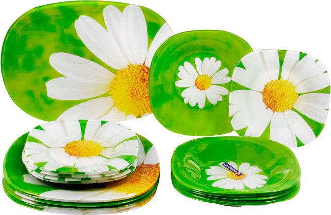 Набор столовой посуды Luminarc Paquerette, 19 предметовJ0633Набор Luminarc Paquerette состоит из 6 суповых тарелок, 6 обеденных тарелок, 6 десертных тарелок и салатника. Изделия выполнены из ударопрочного стекла, имеют классический дизайн с изящным цветочным рисунком и красивую квадратную форму с закругленными краями. Посуда отличается прочностью, гигиеничностью и долгим сроком службы, она устойчива к появлению царапин и резким перепадам температур. Такой набор прекрасно подойдет как для повседневного использования, так и для праздников или особенных случаев. Набор столовой посуды Luminarc Paquerette - это не только яркий и полезный подарок для родных и близких, это также великолепное дизайнерское решение для вашей кухни или столовой. Изделия можно мыть в посудомоечной машине и использовать в микроволновой печи. Размер суповой тарелки: 21 см х 21 см. Высота суповой тарелки: 3,2 см. Размер обеденной тарелки: 25 см х 25 см. Высота обеденной тарелки: 1 см. Размер...