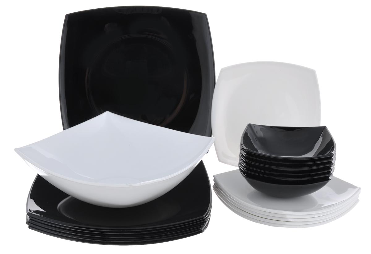 Набор столовой посуды Luminarc Quadrato, 19 предметовC5239Набор Luminarc Quadrato состоит из 6 суповых тарелок, 6 обеденных тарелок, 6 десертных тарелок и глубокого салатника. Изделия выполнены из ударопрочного стекла, имеют яркий и стильный дизайн и квадратную форму. Посуда отличается прочностью, гигиеничностью и долгим сроком службы, она устойчива к появлению царапин и резким перепадам температур. Такой набор прекрасно подойдет как для повседневного использования, так и для праздников или особенных случаев. Набор столовой посуды Luminarc Quadrato - это не только яркий и полезный подарок для родных и близких, а также великолепное дизайнерское решение для вашей кухни или столовой. Можно мыть в посудомоечной машине и использовать в микроволновой печи. Размер суповой тарелки: 14 см х 14 см. Высота суповой тарелки: 5 см. Размер обеденной тарелки: 27 см х 27 см. Высота обеденной тарелки: 3,5 см. Размер десертной тарелки: 19 см х 19 см. Высота десертной тарелки: 2,5...
