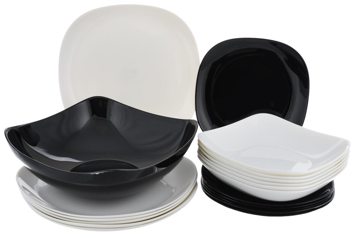 Набор столовый Luminarc Yalta, цвет: черный, белый, 19 предметовH4585Столовый набор Luminarc Yalta состоит из 6 суповых тарелок, 6 обеденных тарелок, 6 десертных тарелок и глубокого салатника. Изделия выполнены из ударопрочного стекла, имеют классический монохромный дизайн и красивую квадратную форму с закругленными краями. Посуда отличается прочностью, гигиеничностью и долгим сроком службы, она устойчива к появлению царапин и резким перепадам температур. Такой набор прекрасно подойдет как для повседневного использования, так и для праздников или особенных случаев. Столовый набор Luminarc - это не только яркий и полезный подарок для родных и близких, это также великолепное дизайнерское решение для вашей кухни или столовой. Изделия можно мыть в посудомоечной машине и использовать в СВЧ-печи. Размер суповой тарелки: 19 см х 19 см. Размер обеденной тарелки: 26 см х 26 см. Размер десертной тарелки: 20 см х 20 см. Размер салатника: 24 см х 24 см х 8 см.