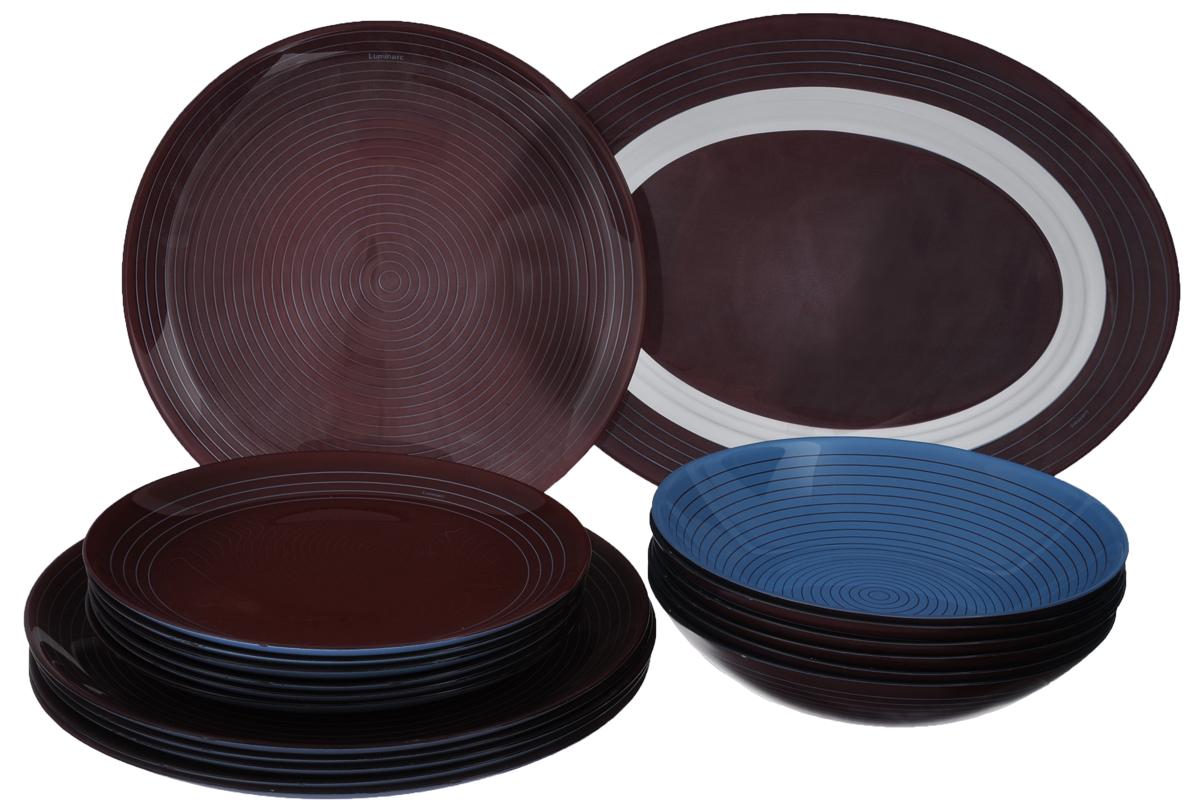 Набор столовой посуды Luminarc Simply Alwan, 19 предметовJ8645Набор Luminarc Simply Alwan состоит из 6 суповых тарелок, 6 обеденных тарелок, 6 десертных тарелок и овального блюда. Изделия выполнены из ударопрочного стекла, имеют яркий дизайн с оригинальным оформлением. Посуда отличается прочностью, гигиеничностью и долгим сроком службы, она устойчива к появлению царапин и резким перепадам температур. Такой набор прекрасно подойдет как для повседневного использования, так и для праздников или особенных случаев. Набор столовой посуды Luminarc Simply Alwan - это не только яркий и полезный подарок для родных и близких, а также великолепное дизайнерское решение для вашей кухни или столовой. Можно мыть в посудомоечной машине и использовать в микроволновой печи. Диаметр суповой тарелки: 20 см. Высота суповой тарелки: 4,3 см. Диаметр обеденной тарелки: 26 см. Высота обеденной тарелки: 1,8 см. Диаметр десертной тарелки: 20,5 см. Высота десертной тарелки: 2 см. ...