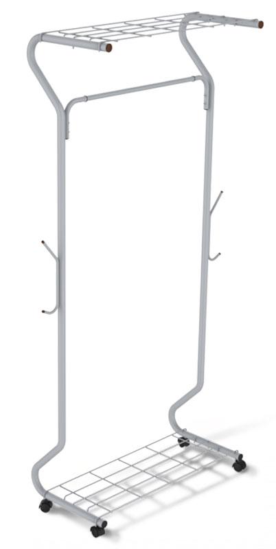 Вешалка напольная Sheffilton SHT-WR546, цвет: светло-серый, черный, 78 см х 46 см х 170 смB1-53_серый, черныйМногофункциональная гардеробная вешалка Sheffilton SHT-WR546 - отличное решение для хранения вещей. Предусмотрены полка для обуви и головных уборов. Имеется штанга для вешалок-плечиков и крючки для сумок. Вешалка выполнена из металлической трубы и пластиковой фурнитуры. Порошковая окраска изделия стойка к механическим повреждениям. Изделие оснащено колесиками для удобства транспортировки. Диаметр трубки: 2,8 см. Толщина трубки: 0,8 мм. Расстояние от пола до штанги: 145 см. Максимальная нагрузка на штангу: 25 кг. Максимальная нагрузка на вешалку: 50 кг.