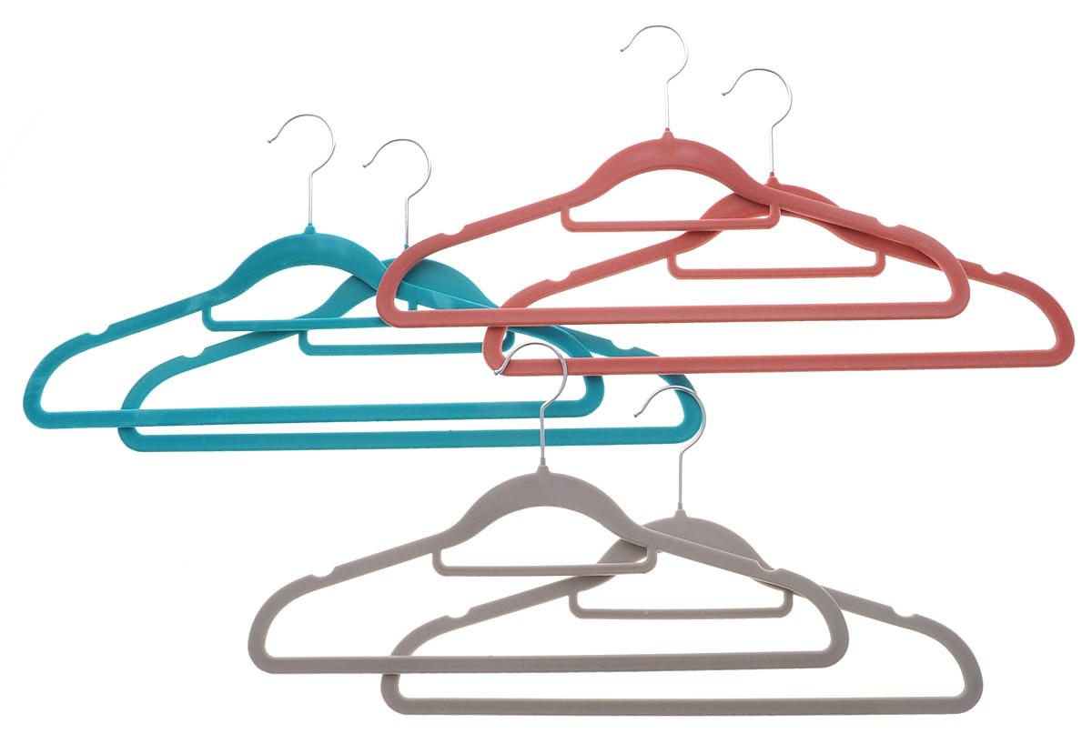 Набор вешалок для одежды El Casa, с перекладиной для галстуков, цвет: бирюзовый, темно-розовый, светло-серый, 6 шт150007Набор El Casa состоит их шести разноцветных вешалок, изготовленных из пластика с велюровым антискользящим покрытием. Благодаря перекладине для галстуков и прочному каркасу вешалки подходят для универсального использования, а также для изделий из деликатных тканей. Набор El Casa станет практичным и полезным в вашем гардеробе. С ним ваша одежда избежит ненужных растяжек и провисаний. Комплектация: 6 шт. Размер вешалки: 42 см х 0,5 см х 23 см.