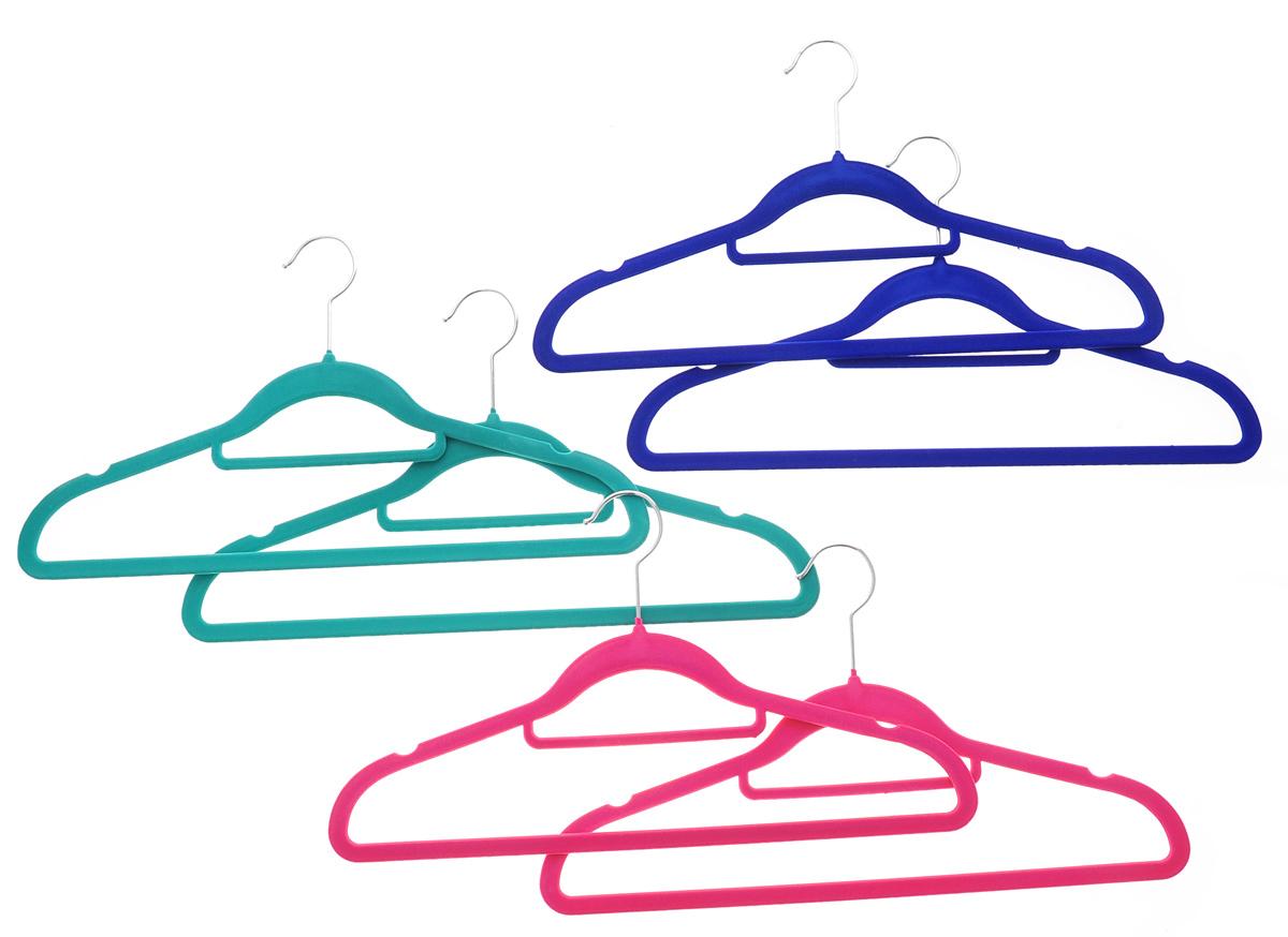 Набор вешалок для одежды El Casa, с перекладиной для галстуков, цвет: зеленый, розовый, синий, 6 шт150009Набор El Casa состоит их шести разноцветных вешалок, изготовленных из пластика с велюровым антискользящим покрытием. Благодаря перекладине для галстуков и прочному каркасу вешалки подходят для универсального использования, а также для изделий из деликатных тканей. Набор El Casa станет практичным и полезным в вашем гардеробе. С ним ваша одежда избежит ненужных растяжек и провисаний. Комплектация: 6 шт. Размер вешалки: 42 см х 0,5 см х 23 см.
